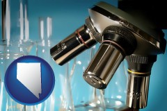 nevada map icon and a microscope and glassware in a research laboratory